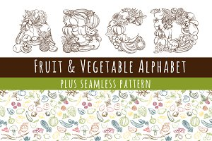 Fruit & Vegetables font alphabet