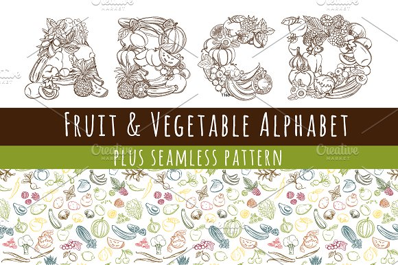 Fruit Vegetables Font Alphabet