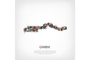 people map country Gambia vector