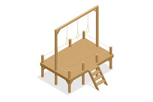 Hangman game vector drawing, suicide rope. Isometric gallows Flat 3d illustration. For infographics, game and design