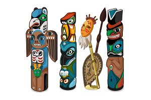 Totems with people faces and birds