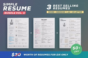 Simple Resume/Cv Bundle - Volume 3