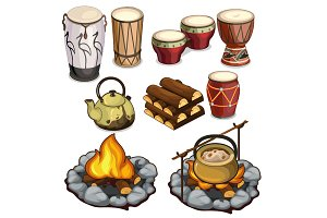 Drums and elements of camping