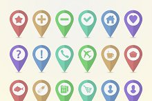 Set of 24 map pointer icons