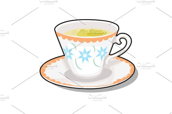 Elegance Porcelain Cup With Green Tea On A Saucer
