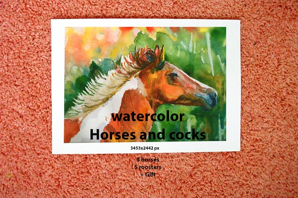 Horses And Roosters WATERCOLOR