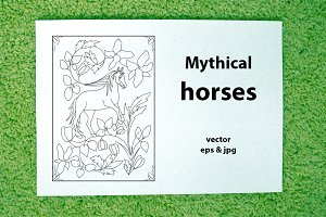 Mythical horses (vector)