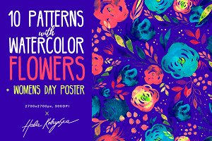 Watercolor flowers & Girls Power Art