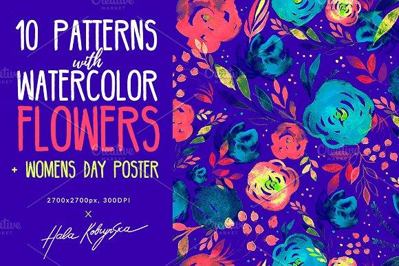 Watercolor Flowers Girls Power Art