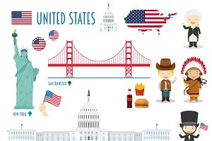 USA Flat Icon Set Travel