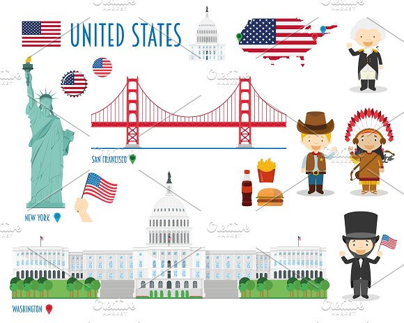 USA Flat Icon Set Travel