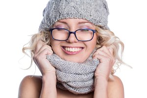 Woman in knitted hat