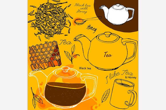 Tea Honey Hand Drawn Concept