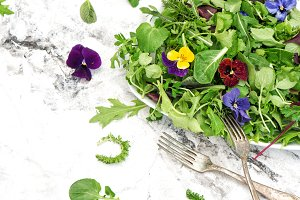 Fresh green salad herbs flowers