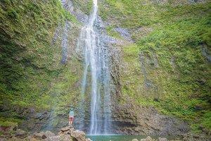 Amazing Hanakapiai falls in Hawaii