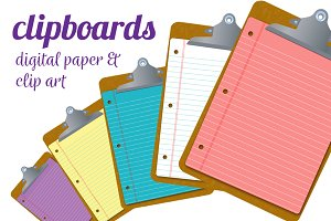 clipboard clipart & digital paper