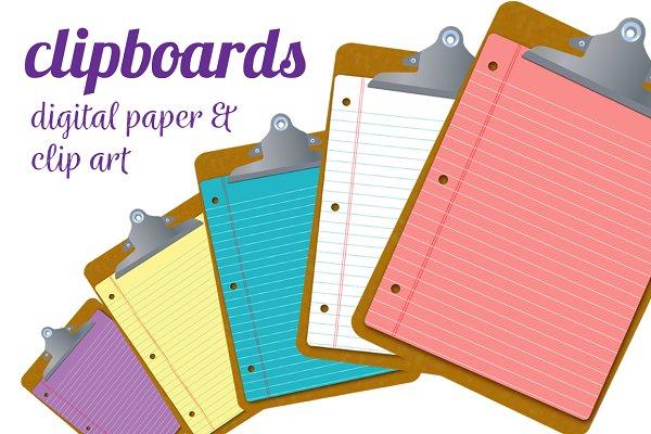 Clipboard Clipart Digital Paper Custom Designed Illustrations Creative Market