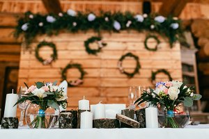 Decorated background for newlyweds table