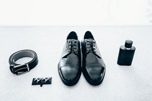 Gentleman accessories. Stylish groom's set.