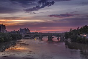 stone bridge in Zaragoza Spain