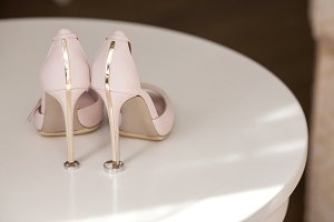 Pair of elegant brides biege shoes