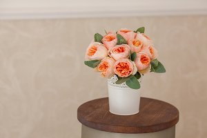 Wedding decorating bouquet of pink roses