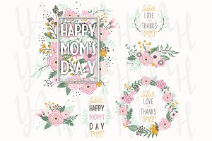 Flower Mothers Day Frame Elements