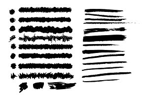 Vector brush strokes set