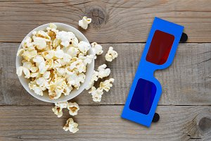 Popcorn and 3d anaglyph glasses