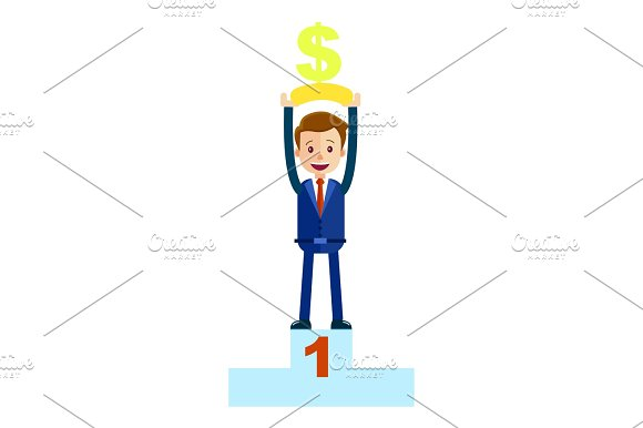 Manager Top Place With Money Dollar Sign Isolated