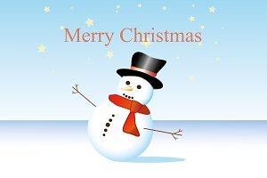 Happy Christmas snowman snow