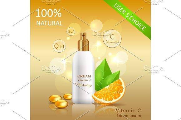 Natural Cream With Vitamin C Vector Illustration