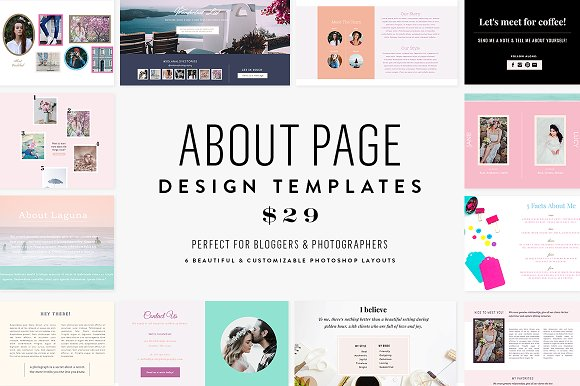About Page Template Bundle Website Templates Creative Market - About page template