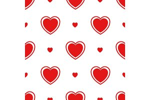 Seamless Pattern with Red Hearts Isolated on White