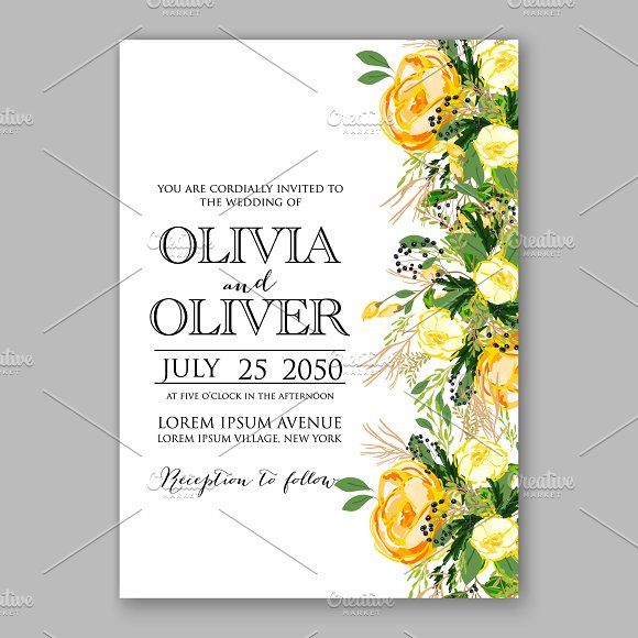 wedding invitation yellow rose invitation templates creative market