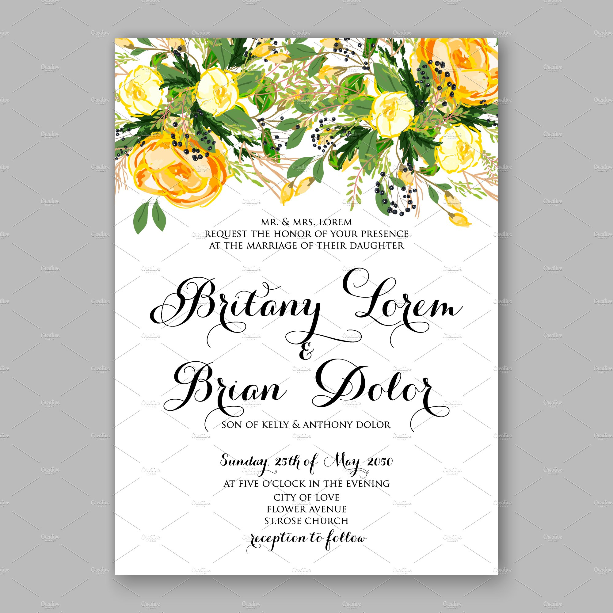 Wedding invitation Yellow rose | Creative Illustrator Templates ~ Creative  Market