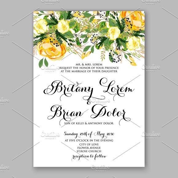 Wedding Invitation Yellow Rose Invitations