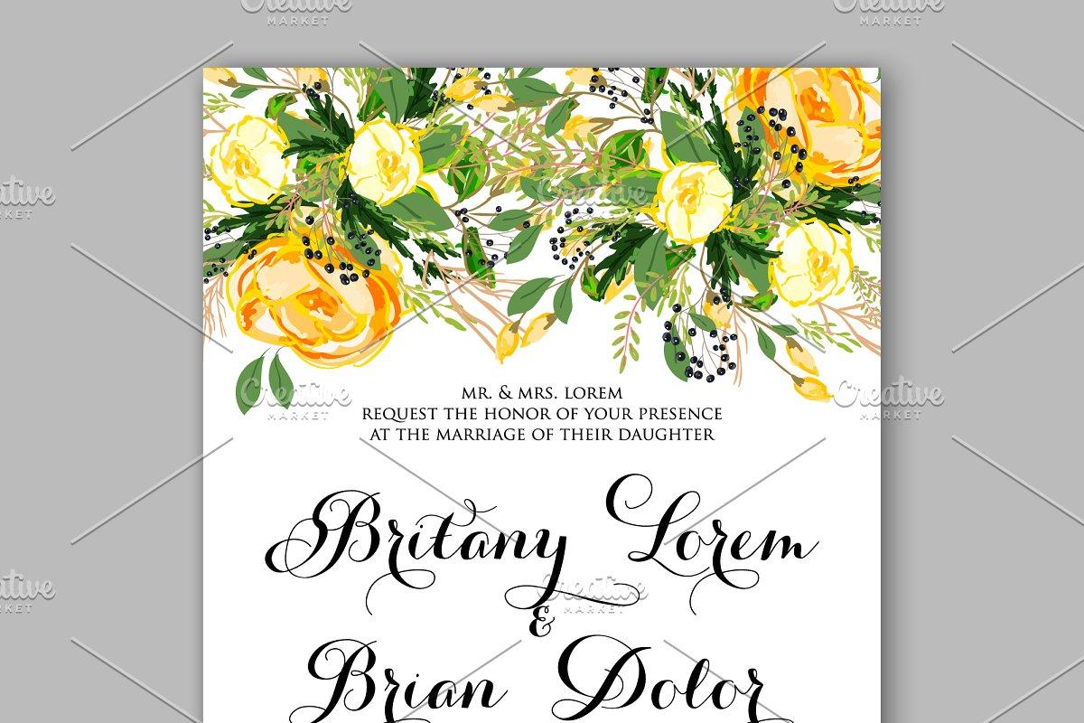 Wedding Invitation Templates.Wedding Invitation Yellow Rose