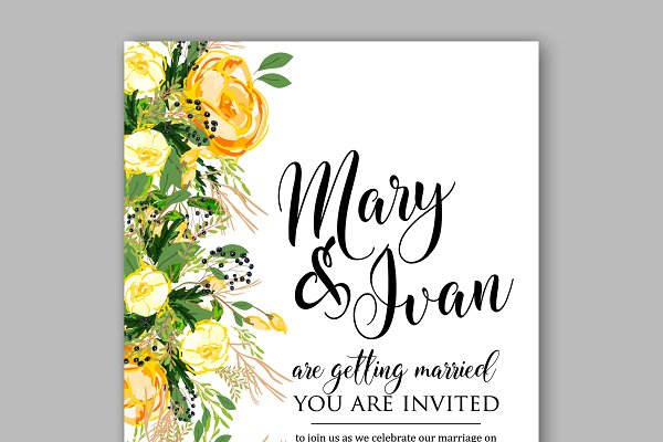 Wedding invitation Yellow rose