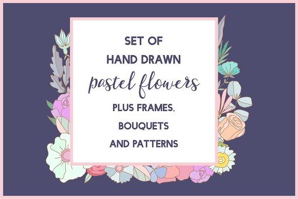 Set Of Hand Drawn Pastel Flowers