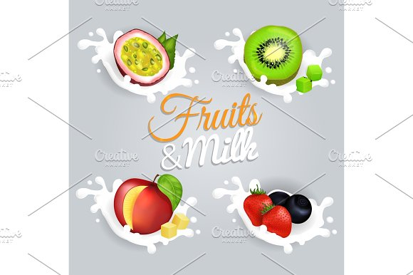 Fruit Splashing In Milk Colorful Vector Poster