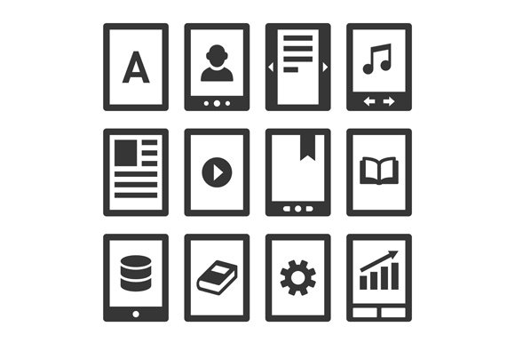 Digital E-book Reader Icons Set