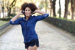 Black woman in urban background
