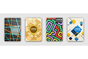 Set of Booklets Covers with Modern Abstract Design