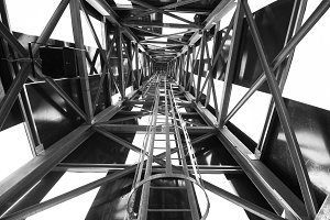 metal structure in black and white