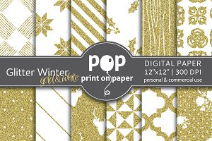 Glitter Winter Gold - Digital Paper