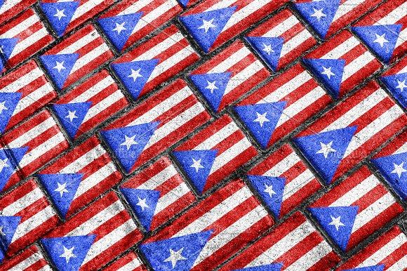 Puerto Rico Flag Urban Grunge Pattern