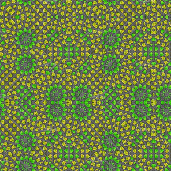 Colorful Geometric Heart Motif Seamless Pattern