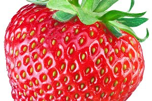 One rich strawberry fruit isolated