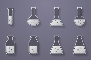 Test tubes and flasks icons
